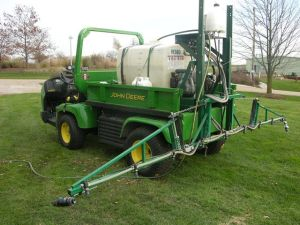 A turf field sprayer